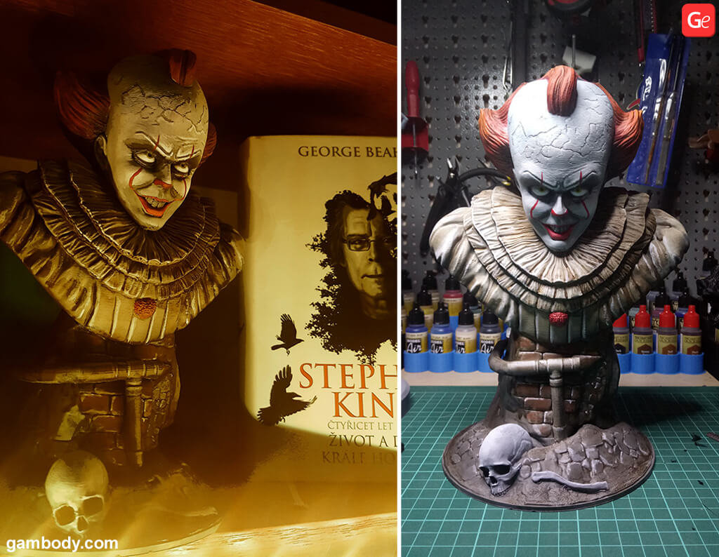 Pennywise bust 3D printing model for beginners
