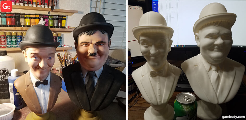 Laurel and Hardy busts 3D printing model for beginners