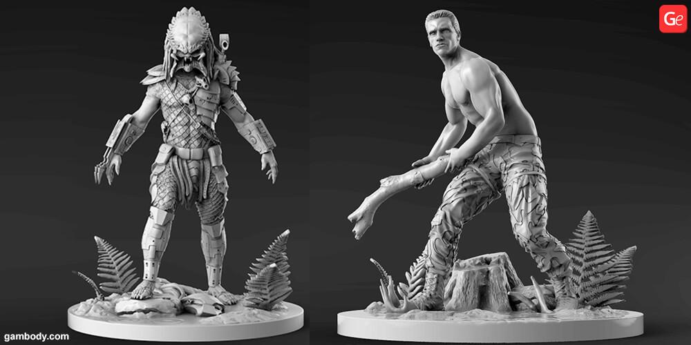Predator vs Dutch fight 3D model to print