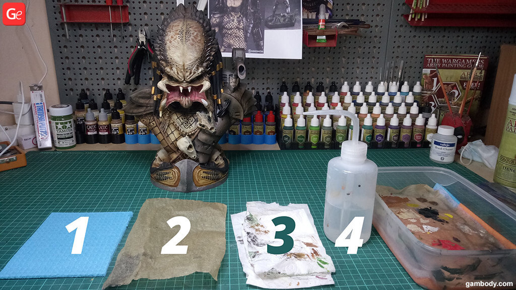 Prepare 3D print of Predator Bust for painting