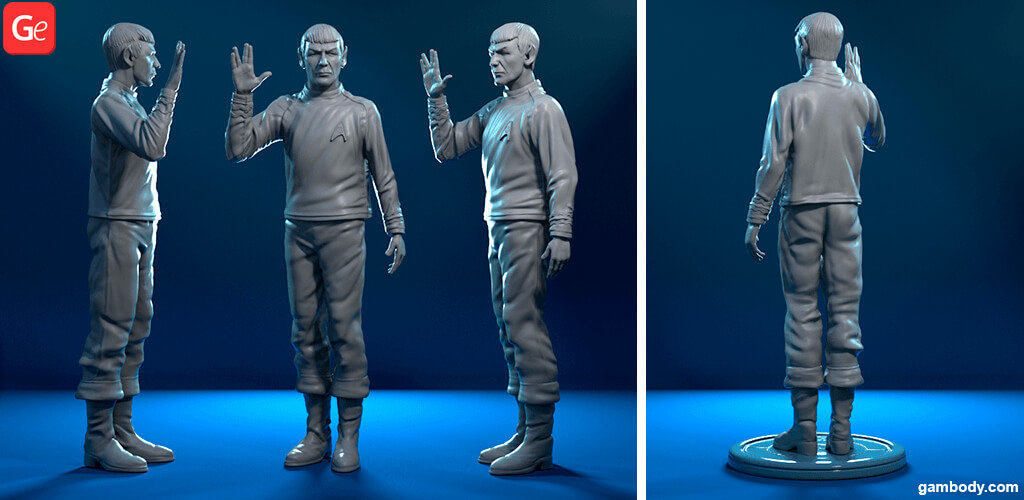 Star Trek Spock 3D printing figurine with Live Long and Prosper hand sign