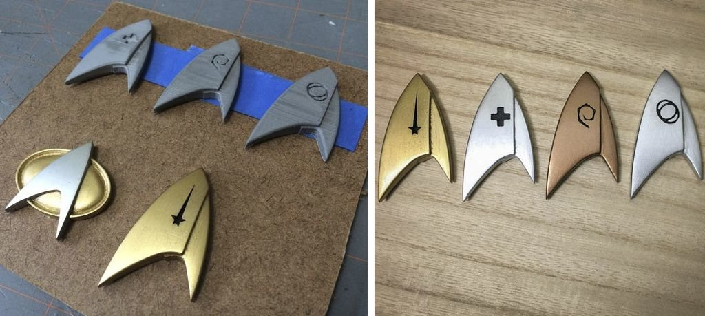 Star Trek Discovery badge symbols as 3D prints