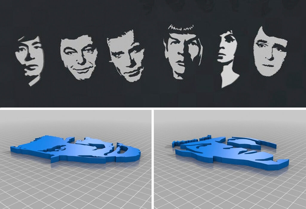 Star Trek characters 3D printing model as wall art