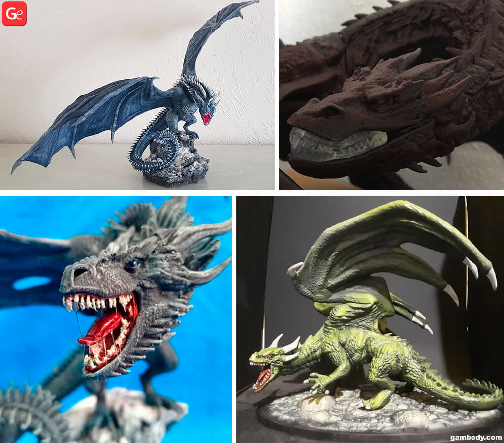 Dragon 3D print figurines