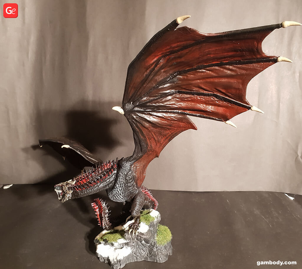 Game of Thrones Drogon figure 3D printed