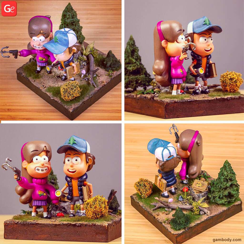 Gravity Falls 3D printing models for beginners Dipper and Mabel Pines
