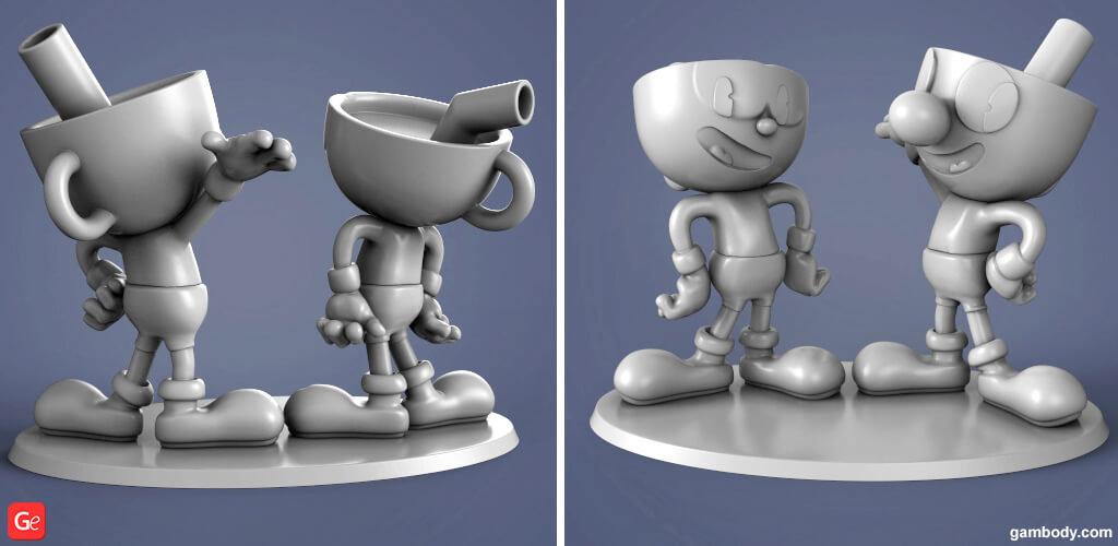 Cuphead cartoon 3d model to print