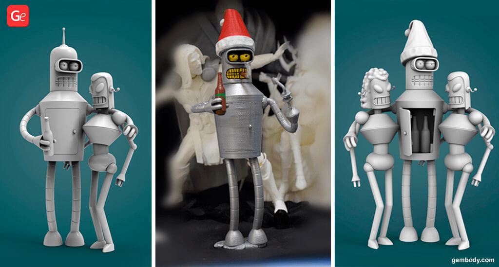 Bender Futurama cartoon 3D STL files