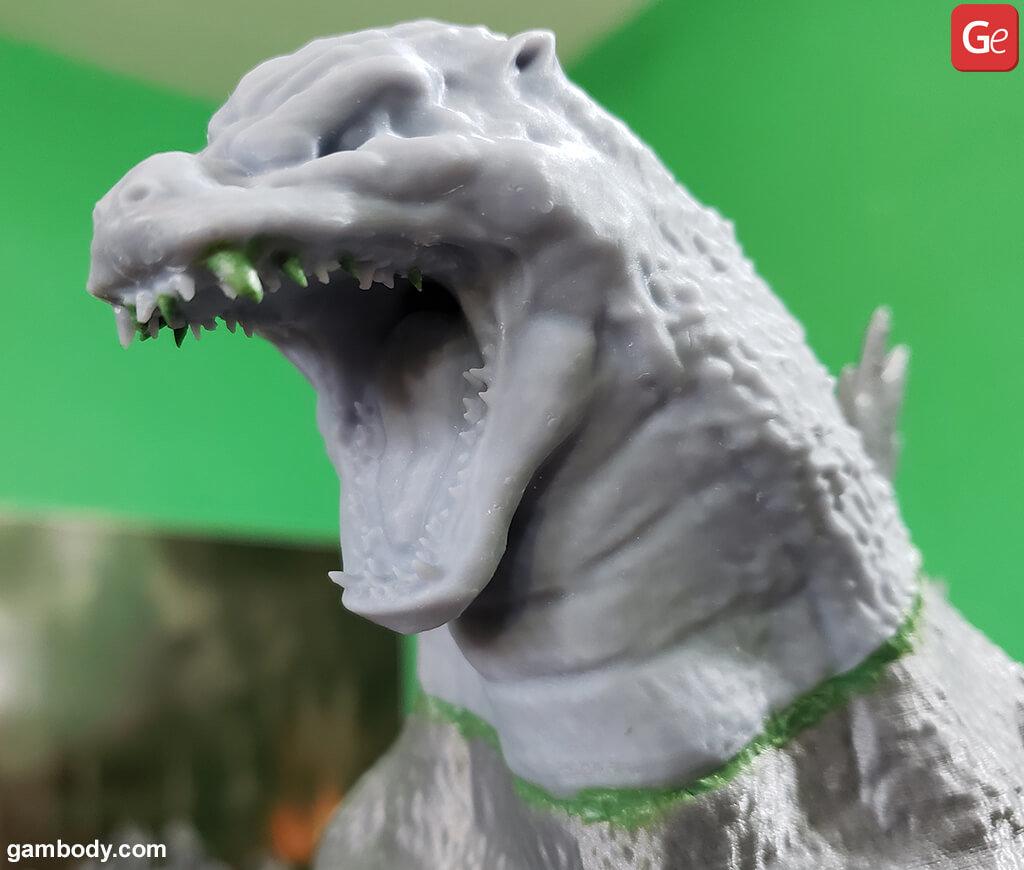 Filling seams in 3D printed Godzilla figurine