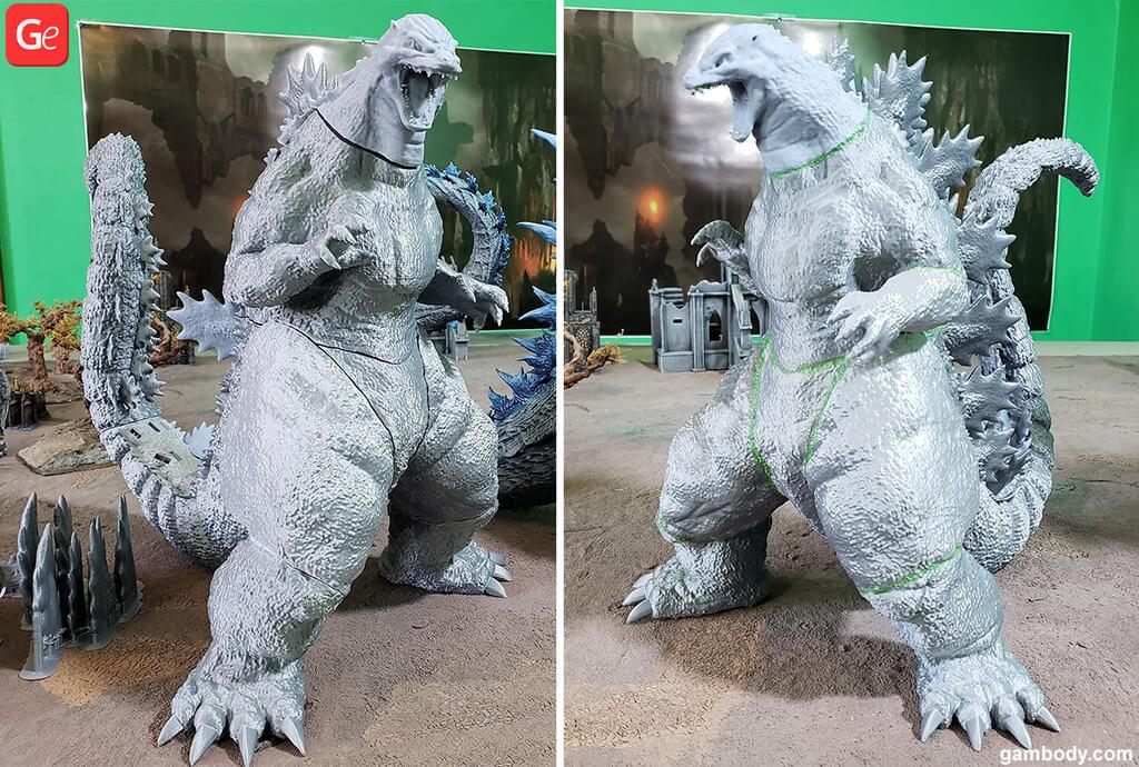Godzilla model 3D printed in silver filament