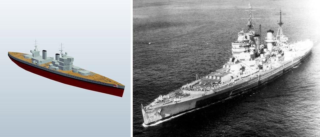 King George V class battleship 3D model