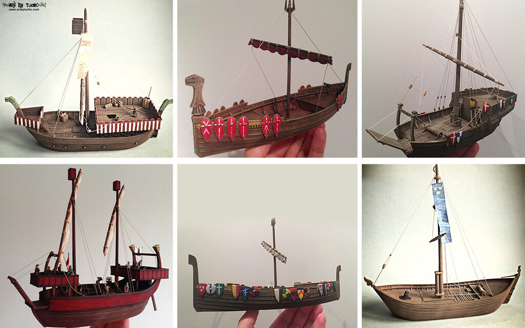 Medieval ships 3D printed models