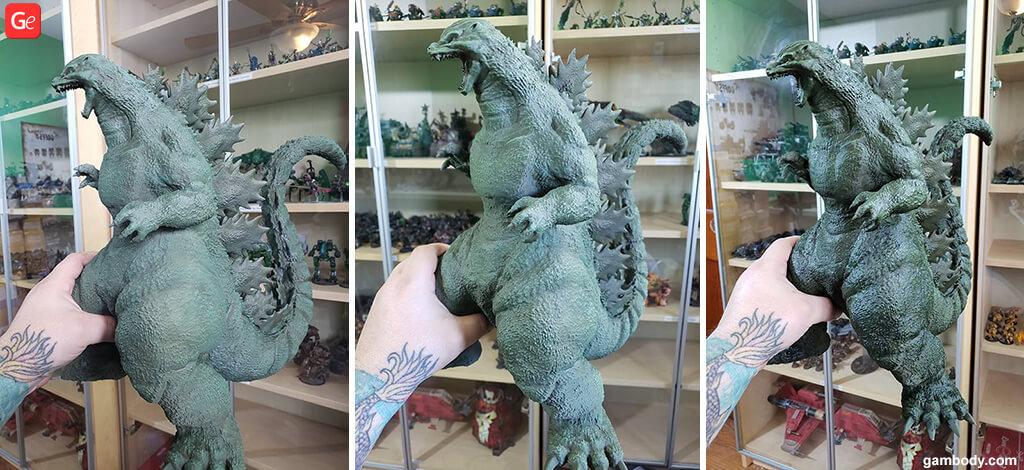 Dry brushing Godzilla figure