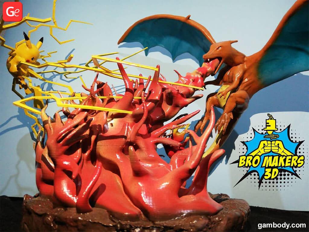 Pokemon Charizard vs Pikachu figurines