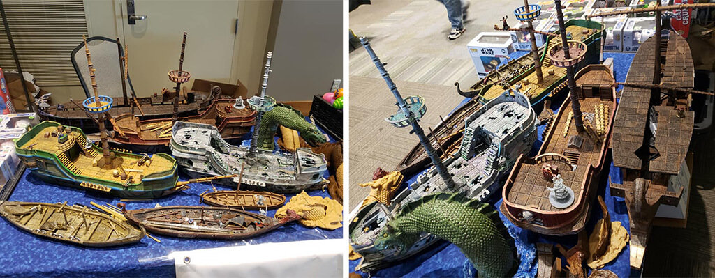 Pirate ship with sea monster model