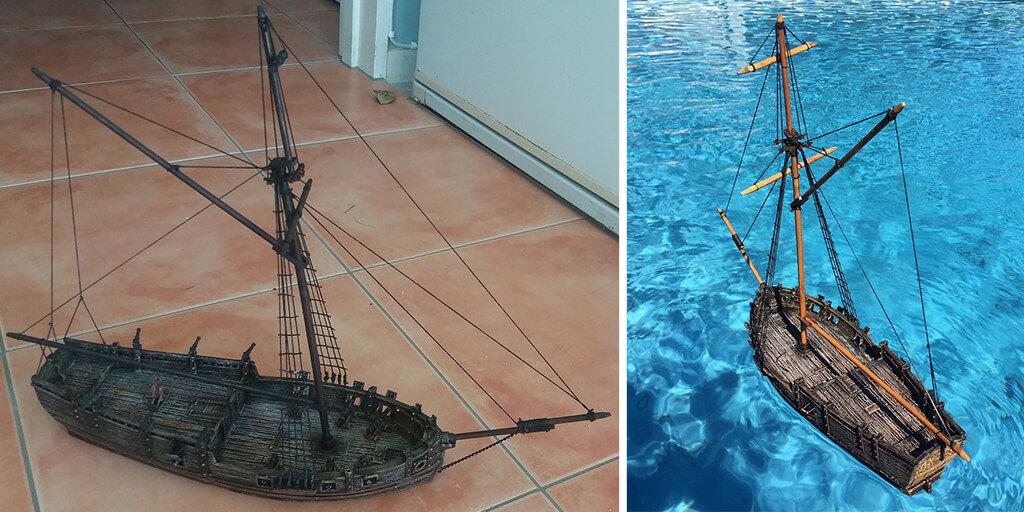 Sloop ship 3D printed model