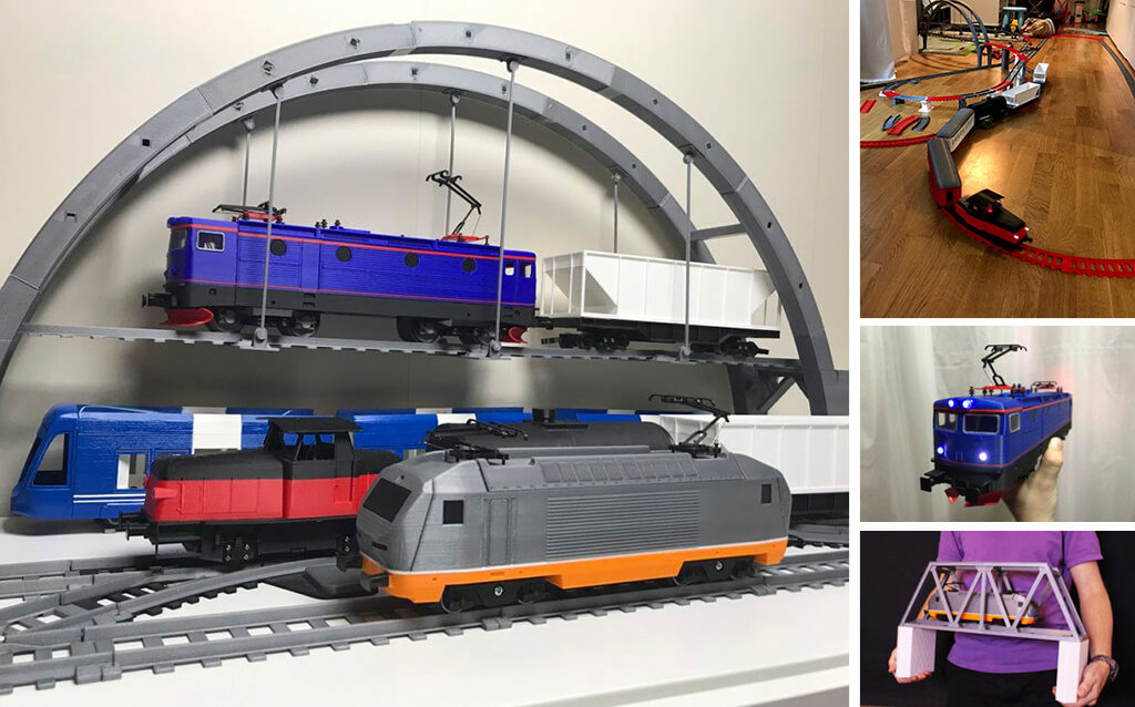 O-scale 3D printed train set