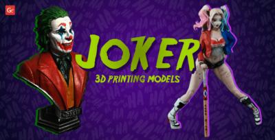 Top Joker 3D Printed Model: Collection of 15 Villain Figurines