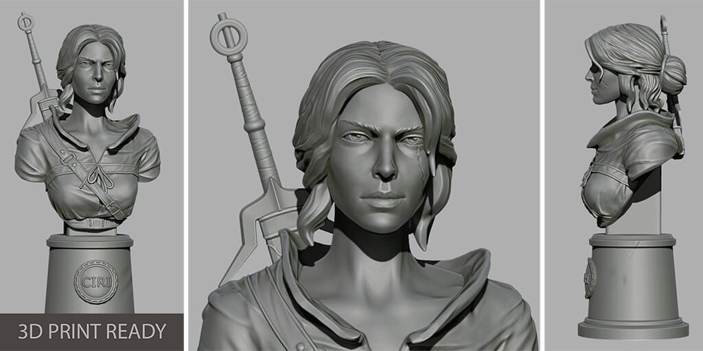 Ciri bust STL 3D model to print
