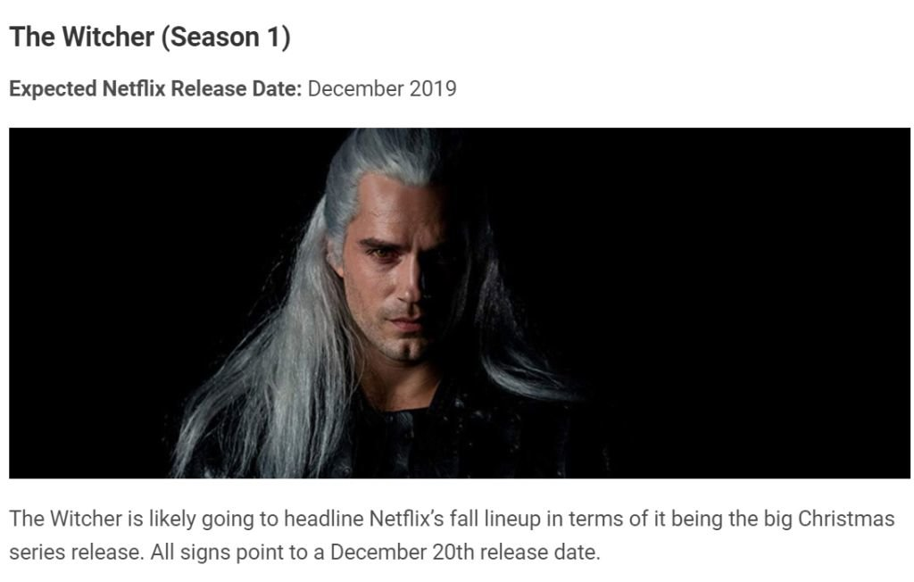 The Witcher movie 2019 release date