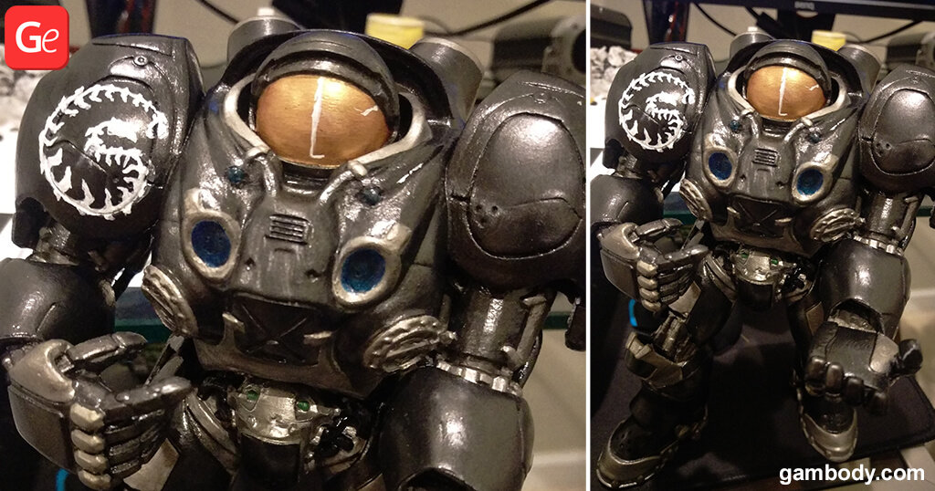 How to paint face of Terran Marine 3D printed figurine