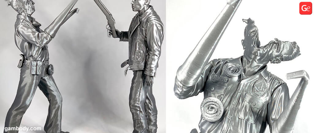 T-1000 damaged face 3D printed figurines