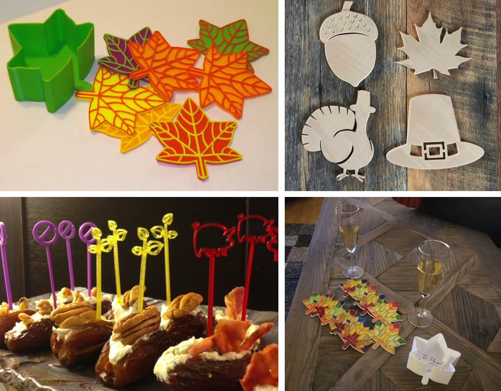Turkey and fall leaf drink coasters and toothpicks 3D printed