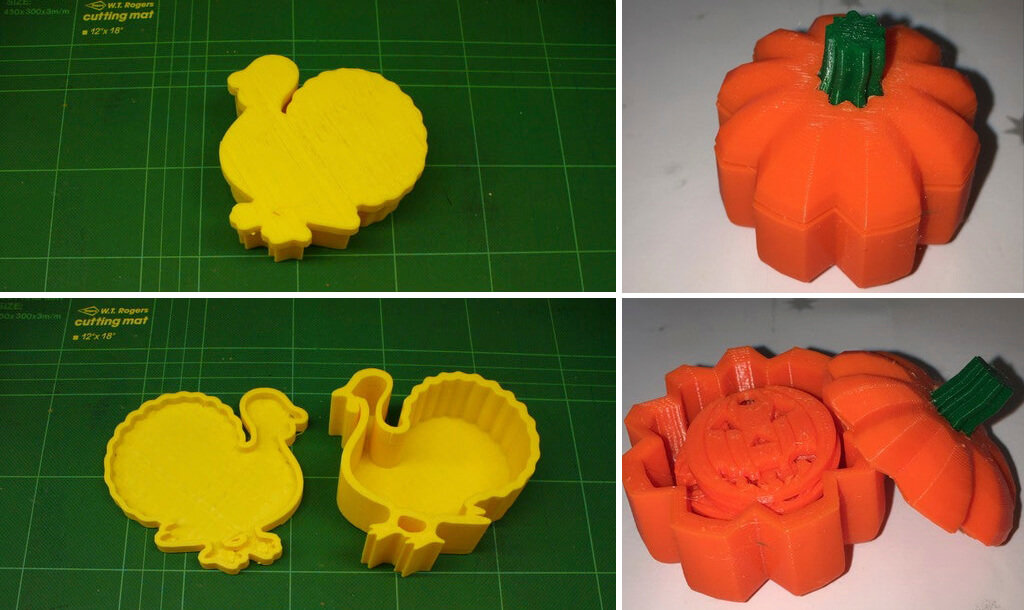 Thanksgiving decor gift box shaped like turkey and pumpkin 3D print