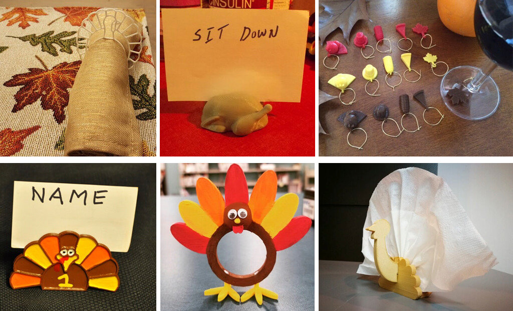 Thanksgiving napkin rings, wine charms and table accessories 3D printed