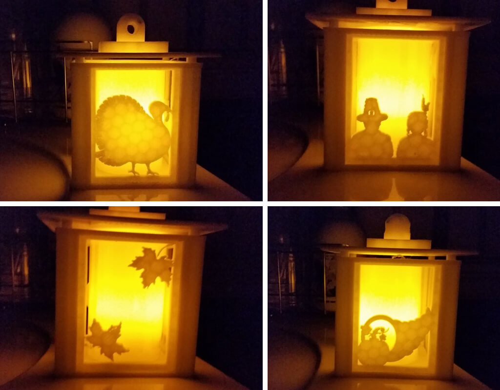 Lantern with turkey décor STL files to 3D print