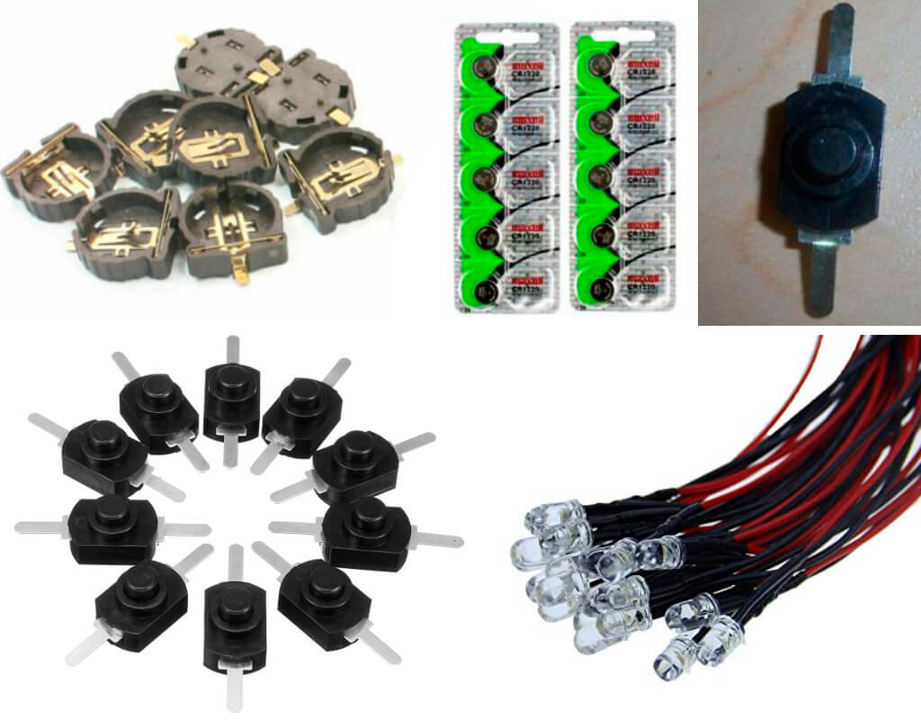 Lights, switch, battery and battery holder