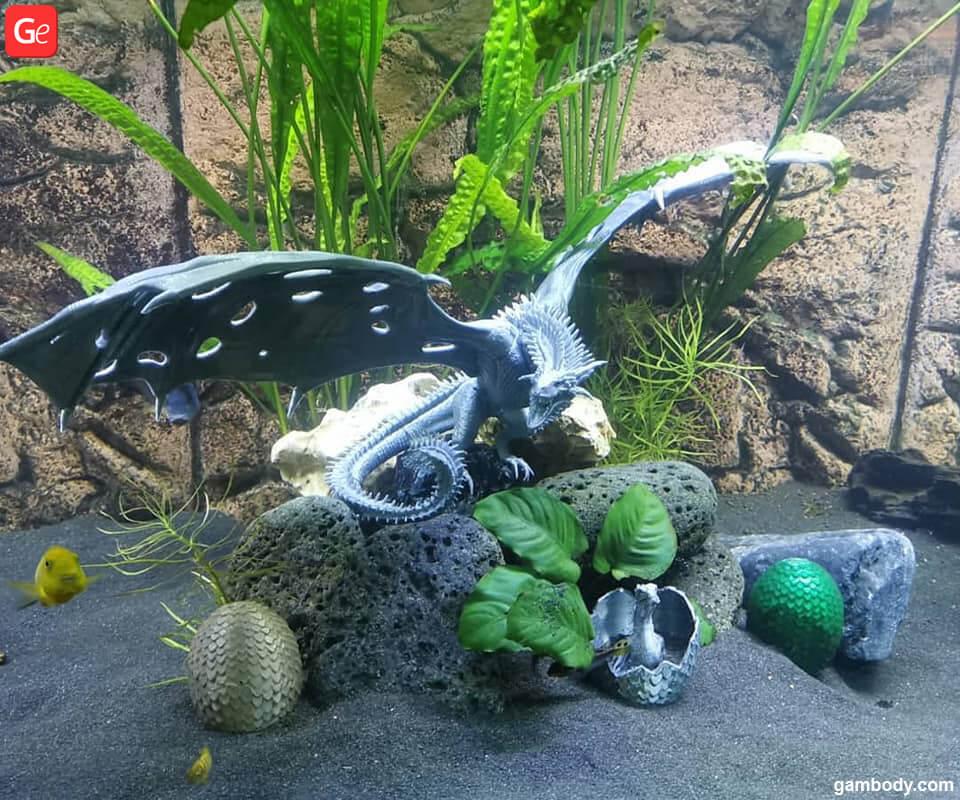 Fish tank decorations Viserion Ice dragon 3D printed