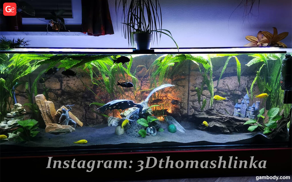 3D printed decorations for fish tank design with water