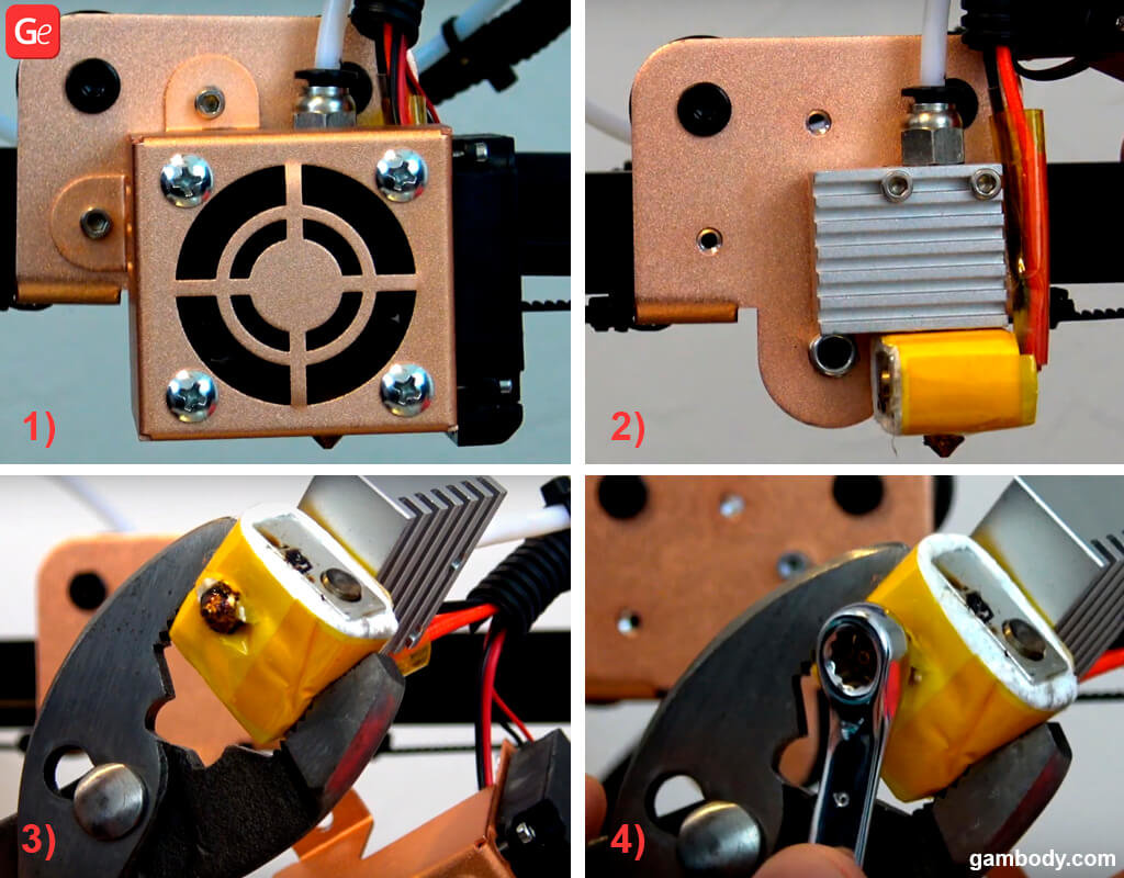 How to disassemble 3D printer HotEnd