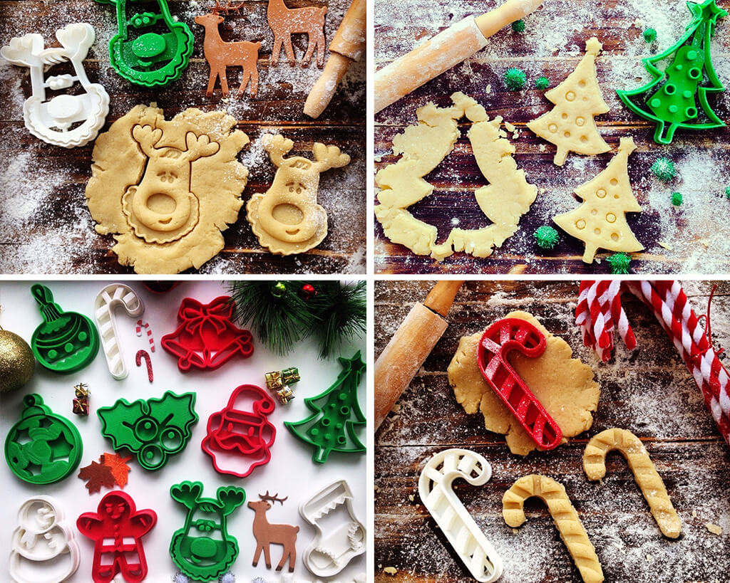 Santa Claus, reindeer, holiday cookie cutters ideas with STL files