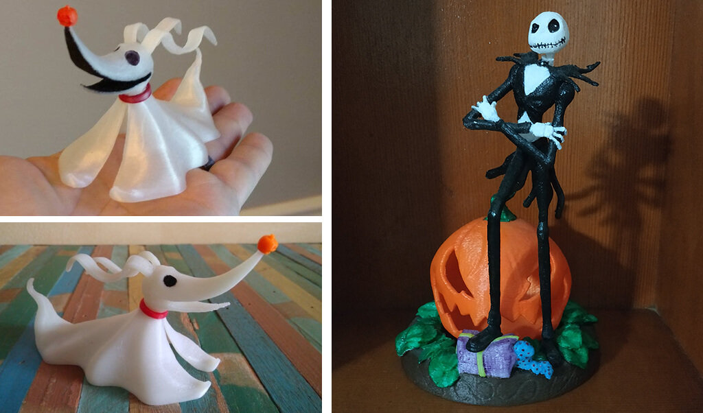 Jack Skellington and Zero Nightmare Before Xmas 3D printing files STL
