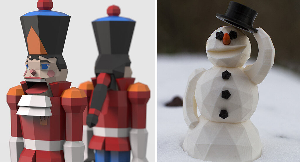 Low poly Nutcracker and snowman STL files