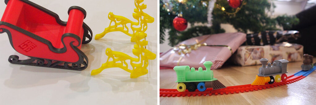 Holiday train toy and Santa sleigh 3D printing ideas STL files