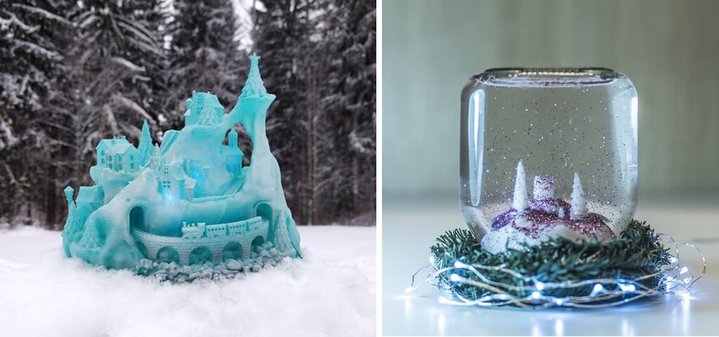 Snowglobe and winter castle ideas for 3D printing