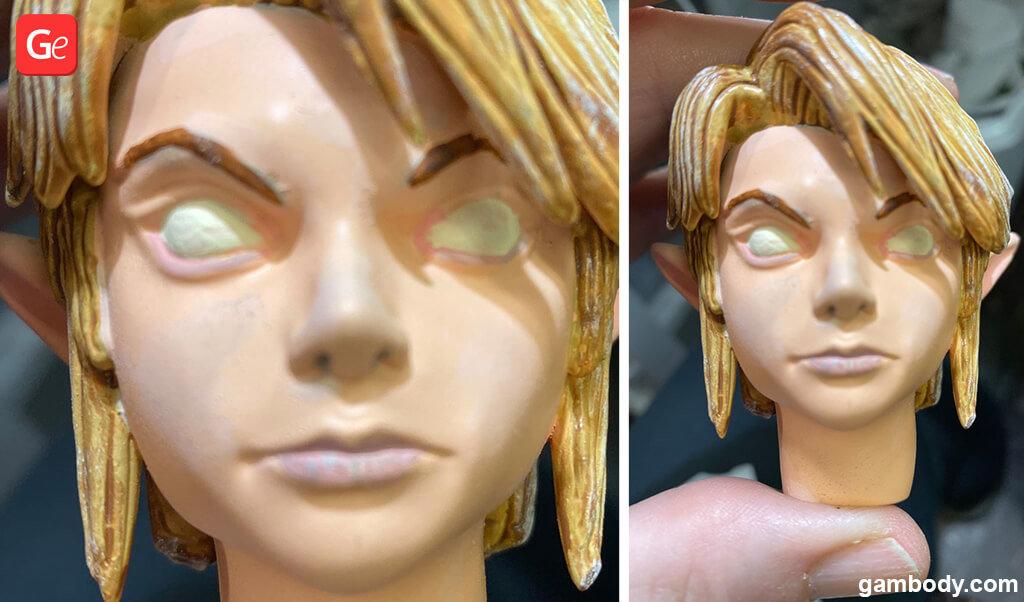 How to paint eyes on Zelda Link figure 3D printed model