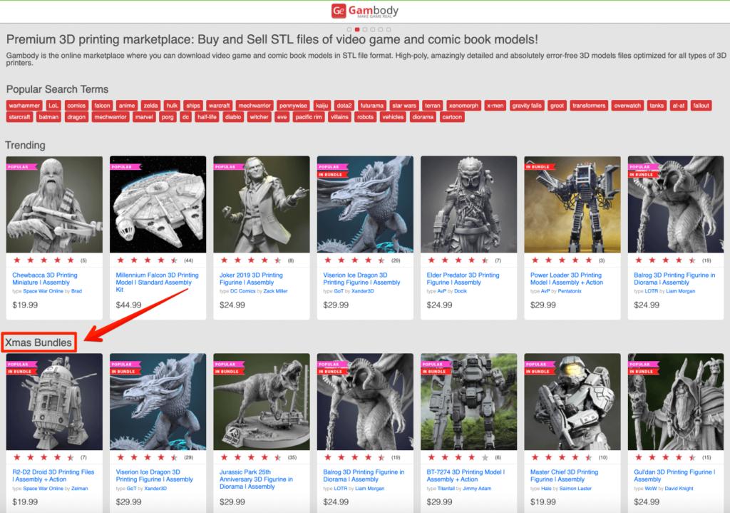 Xmas sale on Gambody 3D printing marketplace