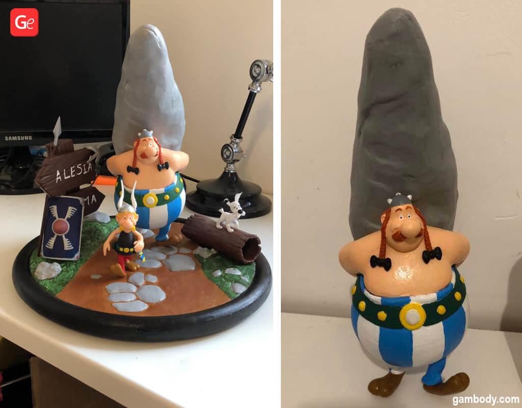 Asterix and Obelix diorama 3D printed