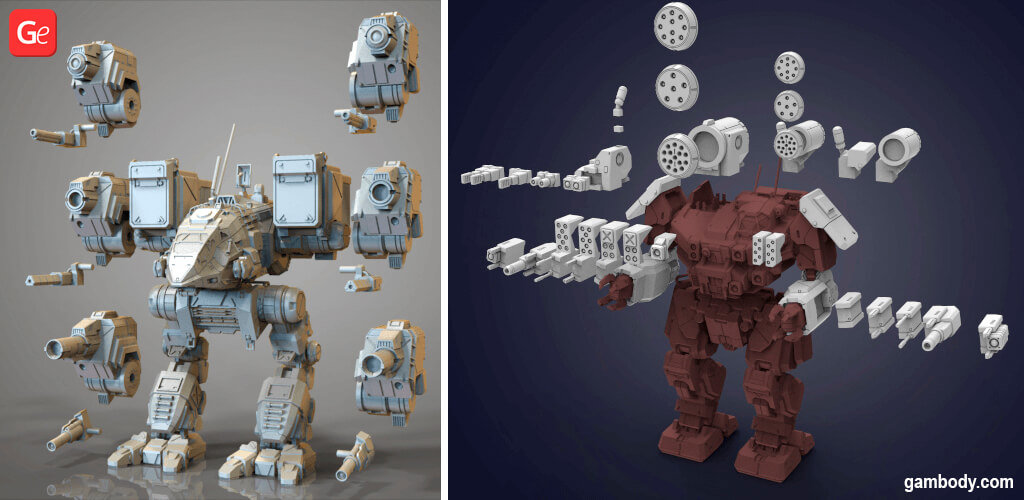 MechWarrior guns and weapons 3D printing kits STL files