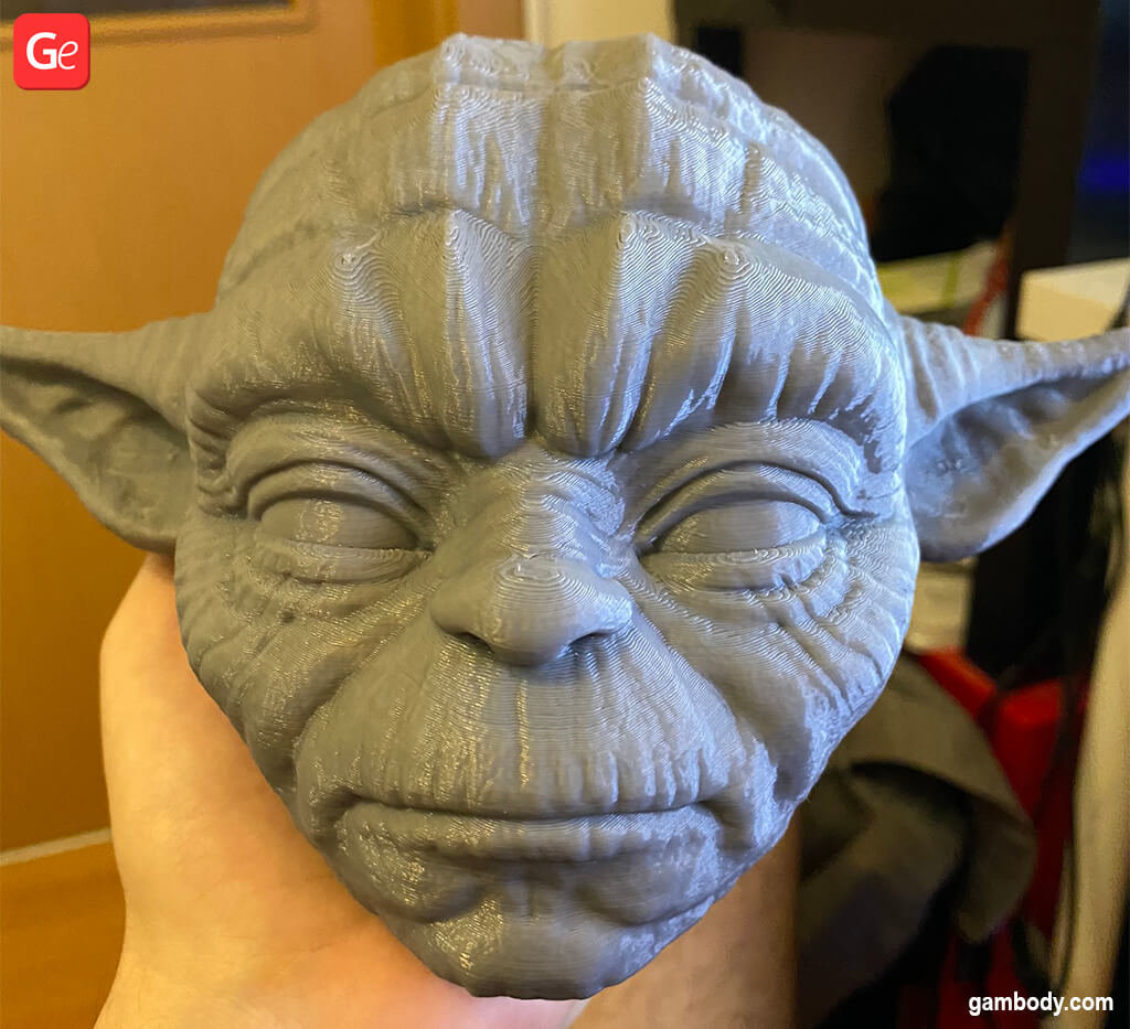 Master Yoda head 3D printed model before painting