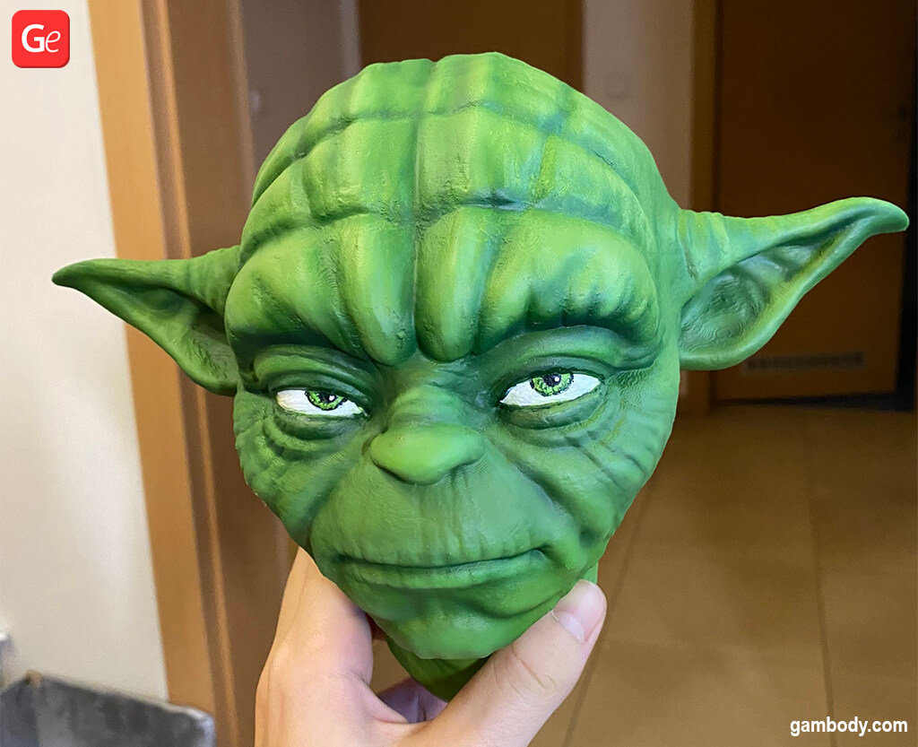 Painting giant Master Yoda 3D printed model