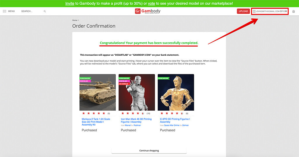 Credits new customers can earn by buying Gambody 3D printing models