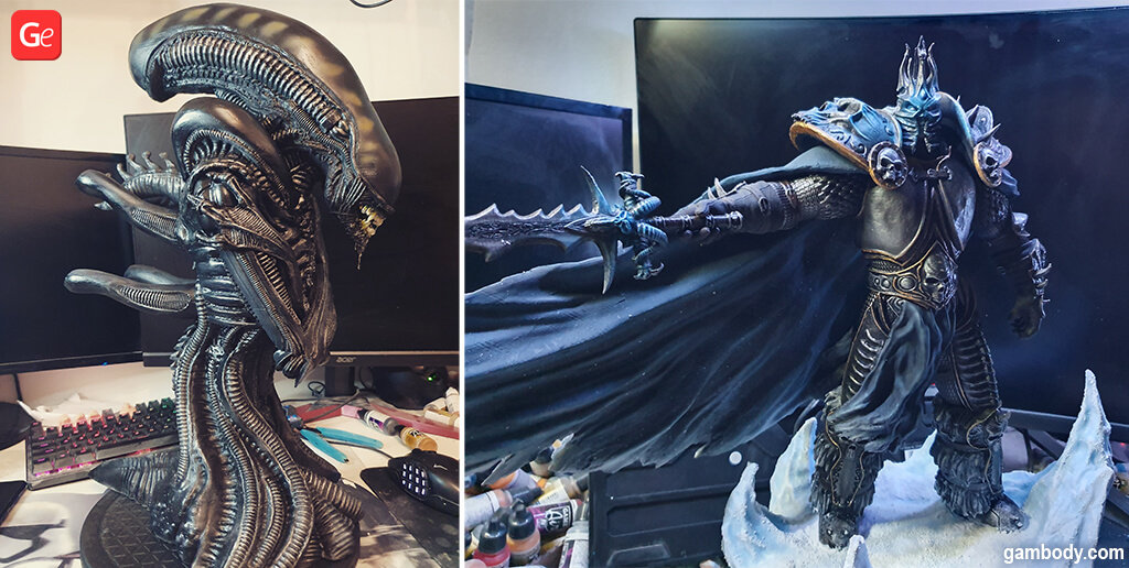 Xenomorph bust and Lich King 3D printed models