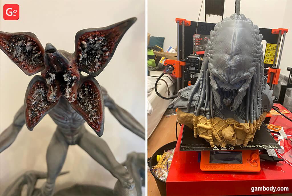 Demogorgon and Predator 3D printed models