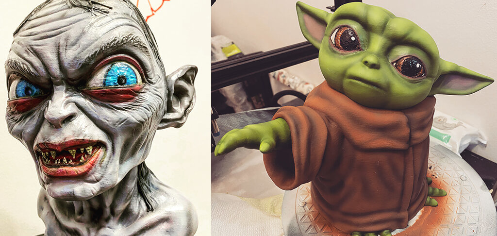 Baby Yoda and Gollum 3D printed models