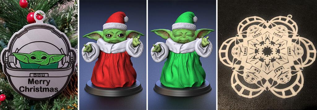 Baby Yoda Christmas 3D printing models 2020
